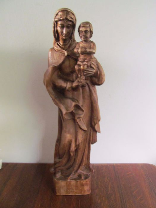 Wooden sculpture - Mary with child - Germany - ca. 1900