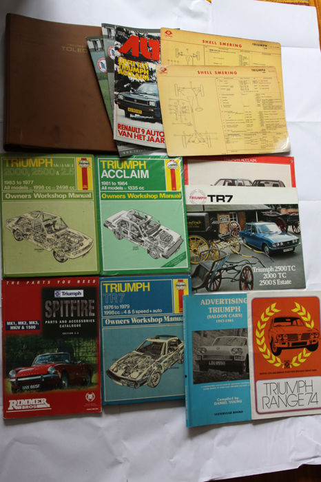 Triumph Books, Repair manuals, folders, brochures, magazines and Shell grease cards
