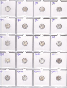 The Netherlands – 10 cents 1919/1944, Wilhelmina (20 different coins) – silver