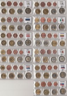European Countries – Year packs Euro coins, 11 different countries C-S various years