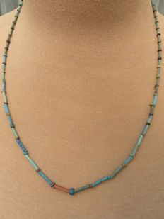 Egyptian necklace with faience beads - 57 cm.
