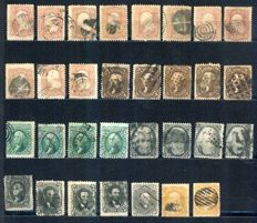 USA 1861/1867 - 31 Classic definitives to sort out by types - Between Scott 64 and 77