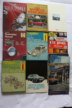 Lot of books about English Cars Triumph, MGB, TVR