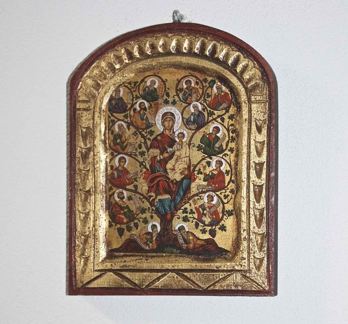 Byzantine wooden icon Mary with baby Jesus surrounded by saints