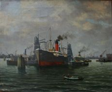 A.H. Delfgauw, view of the port of Rotterdam, oil on canvas, signed
