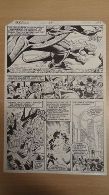 Original Art Page By Herb Trimpe - Marvel Comics Godzilla : King Of The Monsters #22 - Page 23 - (1978)