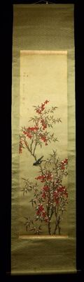 Japanese scroll painting of a finch in a snowy Nandin tree (Nandina Domestica) signed with 日 晶 (Nisshou) - Japan - approx. 1920