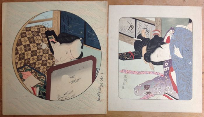 "Two coloured woodcuts (model ""pillow print"") by Utagawa Kuniyoshi (1797-1861) and Toyohara Chikanobu (1838-1912) (reprint) – Japan – ca 1920"