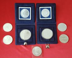 The Netherlands – 10 guilder 1994, 1995, 1996, 1997 and 1999 + 50 guilder 1984 and 1987 – silver