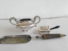 Big sugar bowl with floral decoration, crumb scoop with bone handle by James Deakin and crumb box, silver plated