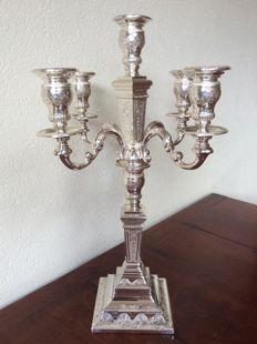 Silver five light candelabrum/candle stand, double usage, D.J. Aubert, The Hague, 1996