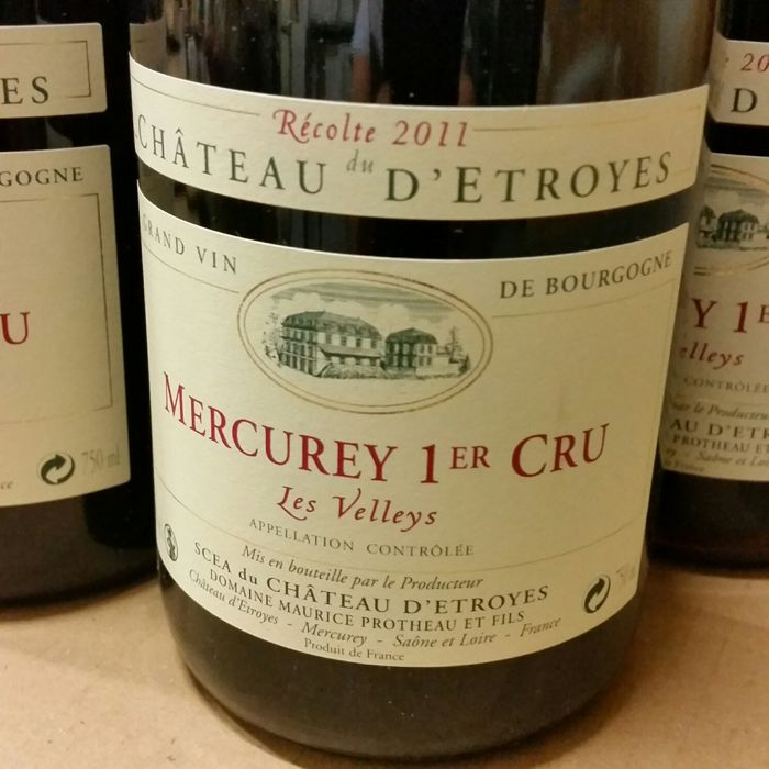 2011 Mercurey 1er Cru 'Les Velleys' Chateau d'Etroyes x 6 bottles