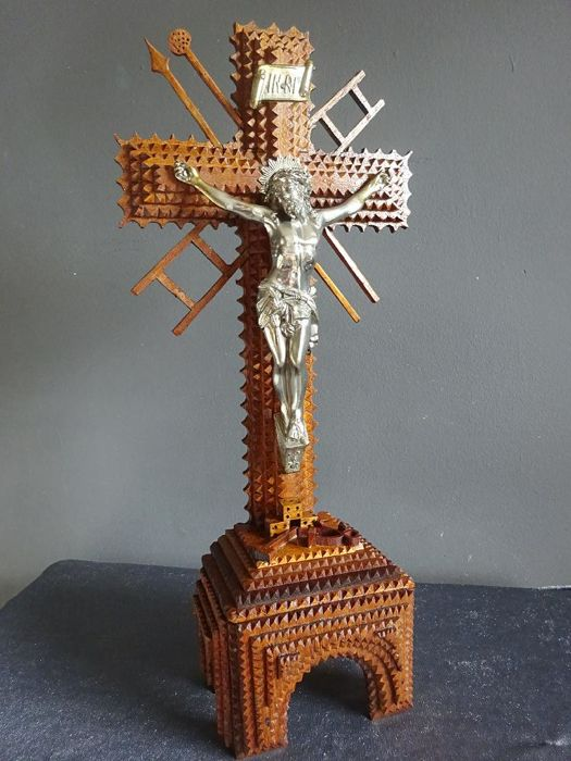A Wooden Crucifix with Jesus / corpus - France - Early 1st half of the 20th century