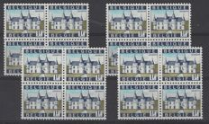 Belgium 1967 – 1F Spontin on phosphor paper – OBP no. 1423P3 in 4 blocks of 4