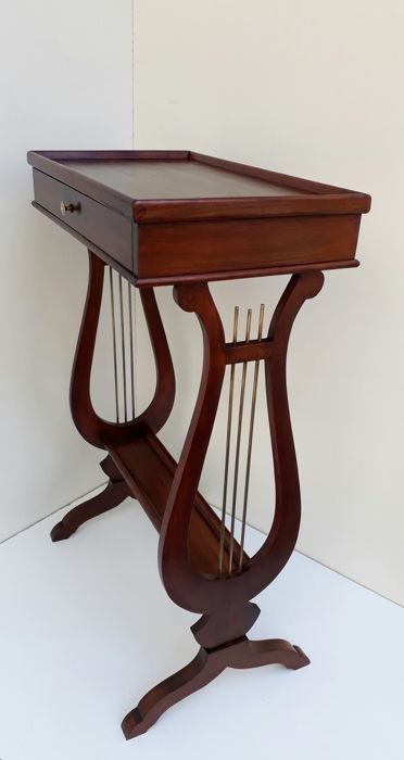 "Mahogany side table ""harp"" model with drawer, France, 20th century"