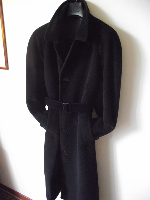 Nino Danieli fashion designer collection - Wool-alpaca overcoat, long type with belt, single-breasted.