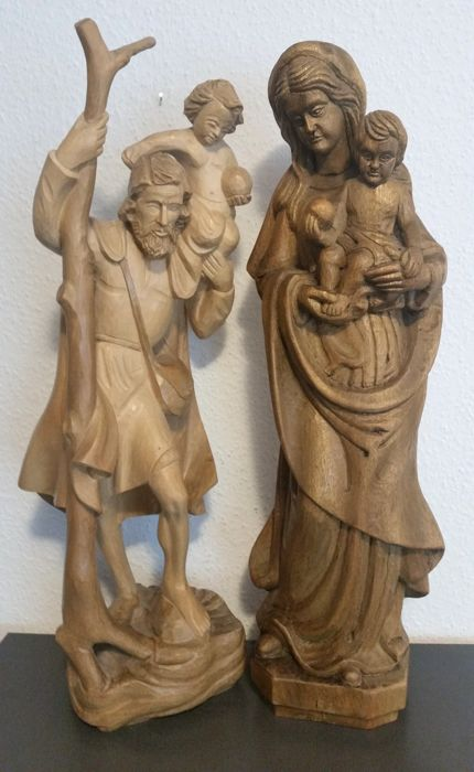 Lot of 2 figures: Wooden figure of Madonna with the Christ child and a figure of St. Christopher with the Christ child