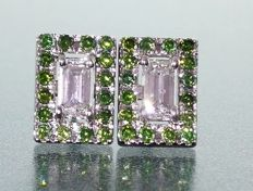 Earrings in 14 kt gold set with 2 baguette cut diamonds, 0.80 ct in total & 32 fancy green diamonds, 1.30 ct in total.