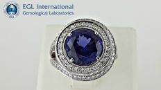 5.48 ct tanzanite and diamond ring 14 kt gold - Ring size: 7.5 (USA)