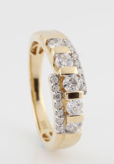 "14 kt yellow gold diamond ring 0.51 ct / G-H-VS1-SI1 / 4.80 g / ring size 56 / ""NEW"""