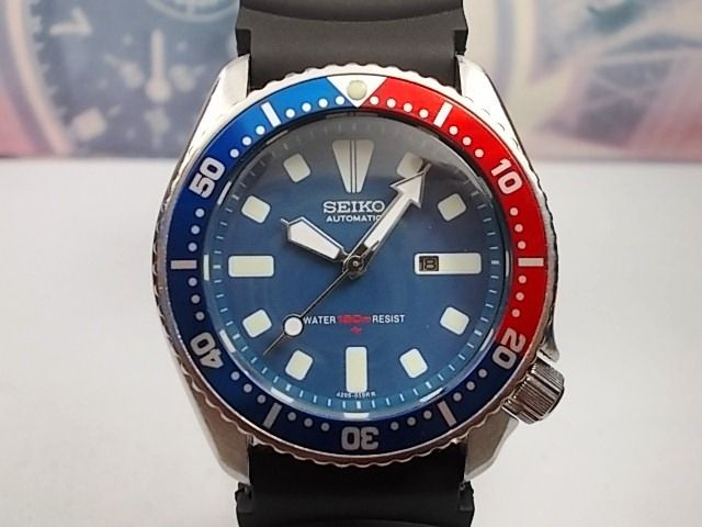 SEIKO 150m DIVERS automatic 'PEPSI' bezel, scuba divers wrist watch, model 4205-0155, c.1990s