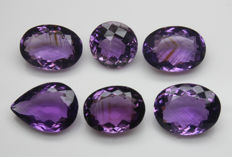 Six Amethyst - 46 ct total - No reserve price