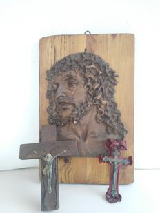 Beautiful icon of Christ made of plaster and marble on a fir wood  and a pair of antique crosses, one from the early 1900 and one from the early 1700