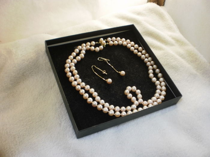 Freshwater pearl necklace set, necklace with earrings - rose with gold (14 kt) - double