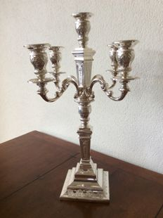 Silver candelabra/candle stand, a double usage, D.J. Aubert, The Hague, 1996