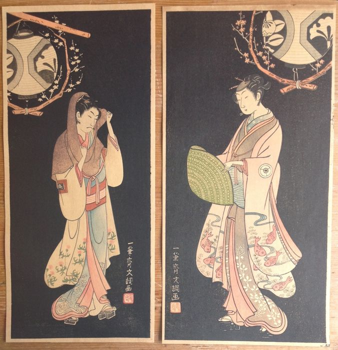 Two woodcuts by Ippitsusai Buncho (active 1765-1792) – Japan – reprint 1920