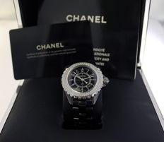 Chanel J12 black with diamonds -