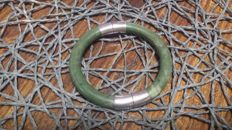 Jade bracelet, two pieces with brass clasp, 45 g.