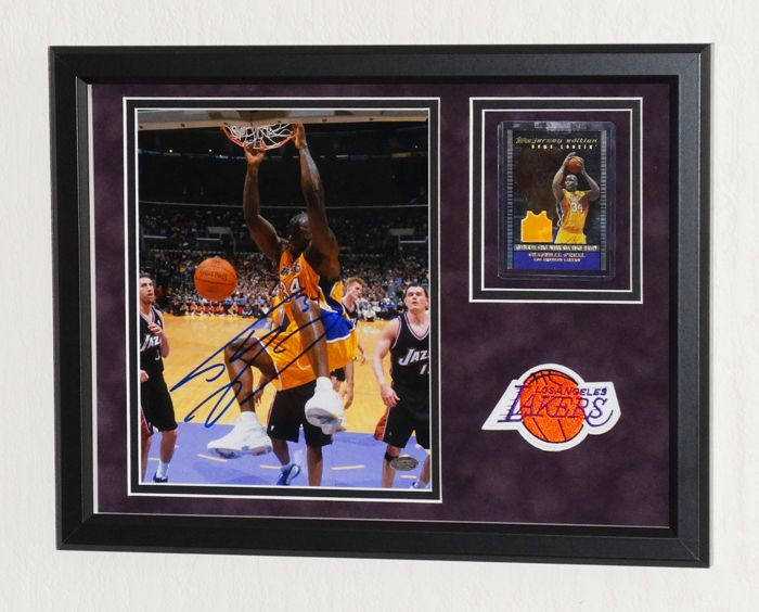 Shaquille O'Neal original signed photo + Limited Edition Game Used piece of clothing - Premium Framed + Mounted Memories certified