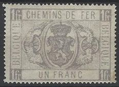 "Belgium 1882 – Railway stamp 1 Franc grey ""National coat of arms in oval with two winged wheels"" – OBP TR6"