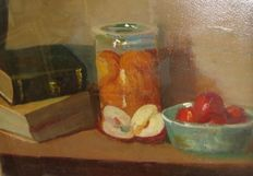 Attributed to Jeanne Brandsma (1902-1992)- oil on cardboard, still life of books and fruit