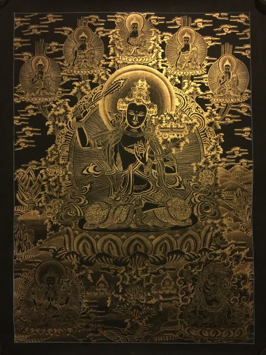 Hand Painted Thangka painting, representing Manjushri - Tibet/Nepal - late 20th century