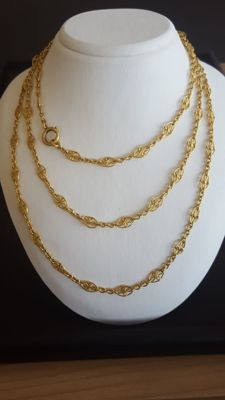 18 K Gold 117 cm Long Lady's Chain  Sautoir
