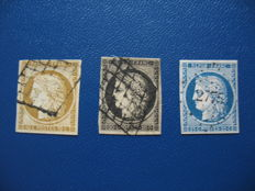 France from 1849 - Michel number 1, 3, 4, postage due P2, 3, 9 and other stamps on plug-in card