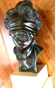 Vincenzo Cinque (1852-1929) - lost wax bronze sculpture of a blindfolded young woman - early XX century