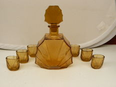 Bohemia - Art Deco decanter with 6 glasses
