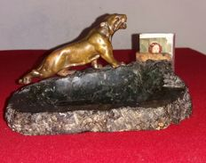Patinated bronze and marble ashtray - early 20th century