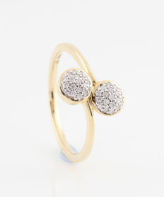 14 kt yellow gold diamond ring, 0.18 ct / G-H, VS2-SI1 / 2.50 g / 56 ring size / New