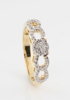 14kt yellow and white gold diamond ring 0.25 ct / G-H-VS1-SI1 / 3.30 grams / 57 ring size