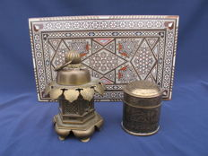 Jewellery box, copper lamp shade and box with lid - India - Second half of 20th century