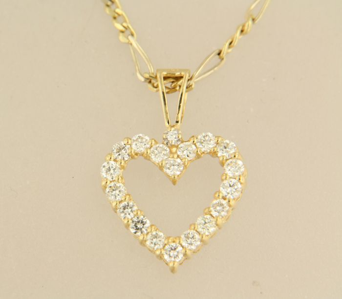 14 kt yellow gold necklace with 18 kt gold heart pendant set with 14 kt yellow gold necklace with 18 kt gold heart pendant set with brilliant cut diamond aloadofball Gallery