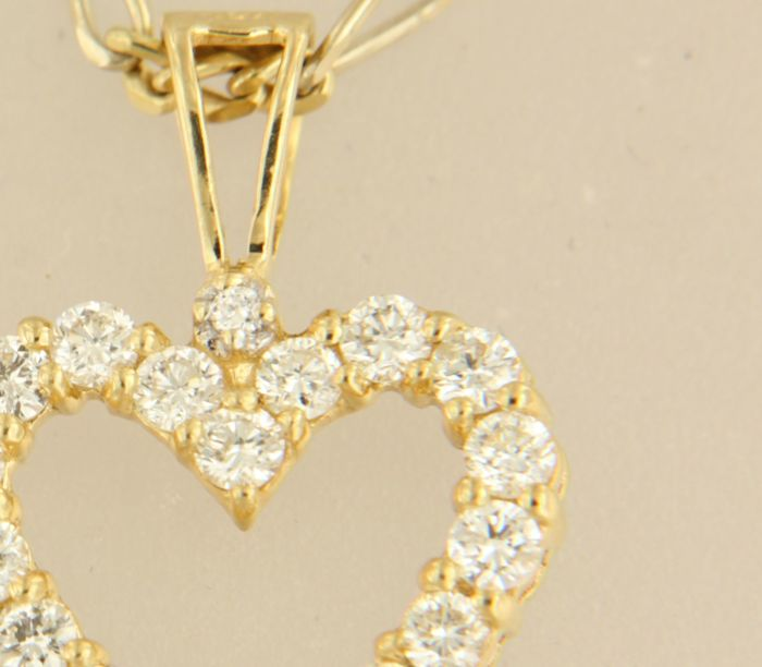 14 kt yellow gold necklace with 18 kt gold heart pendant set with 14 kt yellow gold necklace with 18 kt gold heart pendant set with brilliant cut diamond length 44 cm aloadofball Images
