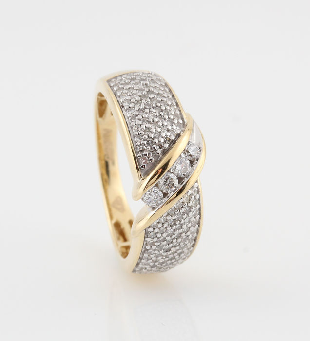 14 karat Gull - Ring Diamant