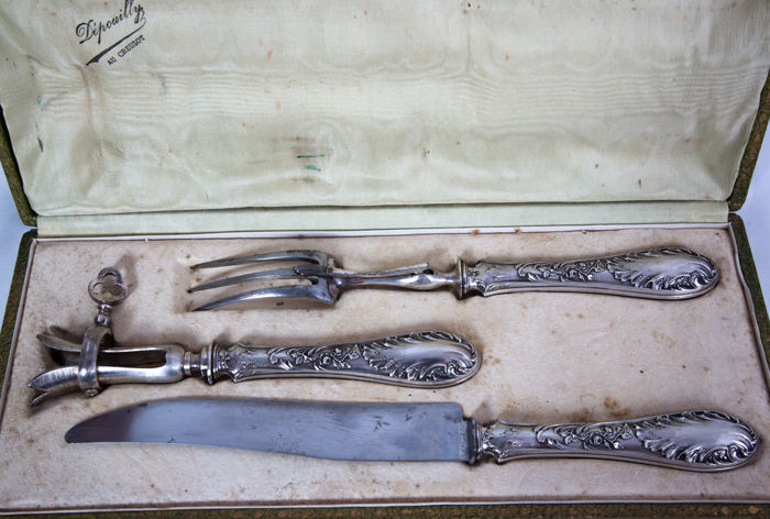 Silver 3-piece carving set, in good condition, in original case, France, 19th century