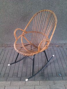 Producer unknown - vintage rattan rocking chair