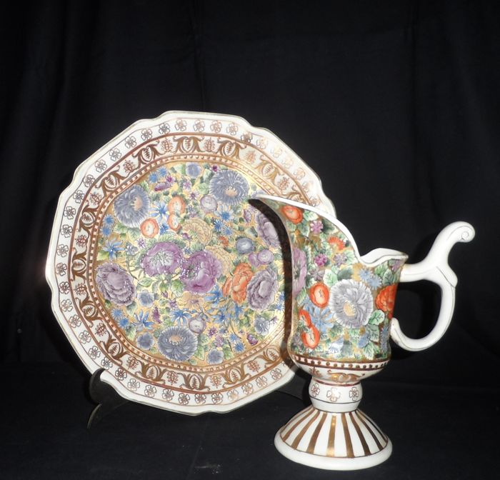 Vanity or decoration set - Huge charger plate and matching pitcher - floral and patterned gold decoration in relief,China - mid 20th century, marked and numbered.